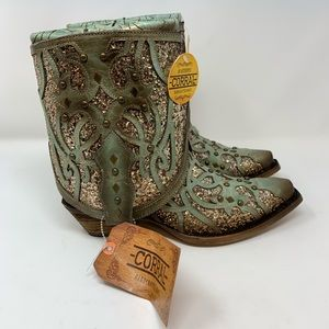 Corral NWT Flipped Glitter Western Ankle Boots, 6